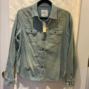 Denim shirt with studded details